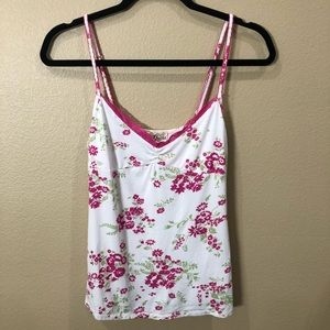 Guess Floral Tank Top with Lace Trim